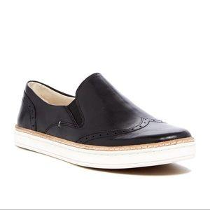 UGG Hadaria Black Leather Wingtip Slip On Sneakers